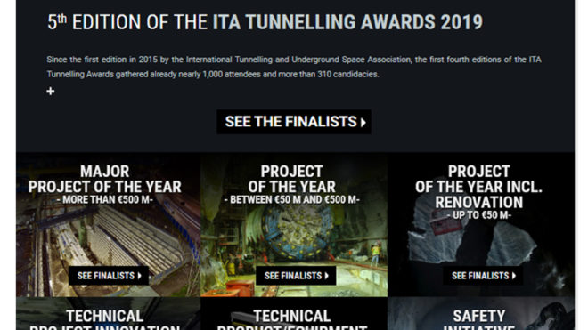 ITA TUNNELING AWARDS 2019: published the names of the finalists